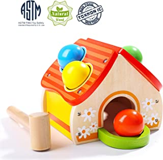 TOP BRIGHT Hammer Toy for Toddlers, Wooden Pounding Toy for One Year Old Boy Gifts, Kids Learning Toy for 1 Year Old Present