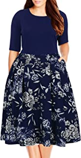 Nemidor Women's Floral Print Vintage Style Plus Size Swing Casual Party Dress