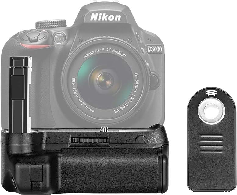 Neewer–Empuñadura de batería para cámara réflex Digital Nikon D3400Cámara botón de Disparo Vertical Trabajo con uno o Dos EN-EL14a Recargable (nw-d3400)