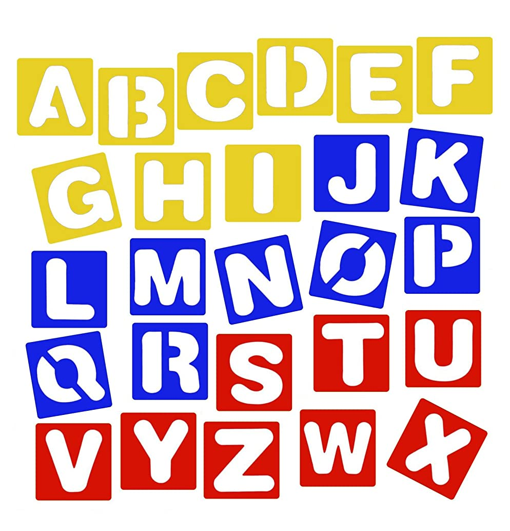 HOOPE 26 Pcs Alphabet Stencil Set for Drawing Painting Creation, Kids Letter Learn Education Cards, Washable and Reusable