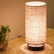 Lifeholder Table Lamp, Bedside Nightstand Lamp, Simple Desk Lamp, Fabric Wooden Table Lamp for Bedroom Living Room Office Study, Cylinder Black Base