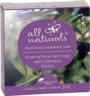 All Naturals, barra de jabón orgánico de caléndula para piel sensible, eccema, enriquecido con aceite de coco virgen, rosa mosqueta, manteca de karité, 100 g