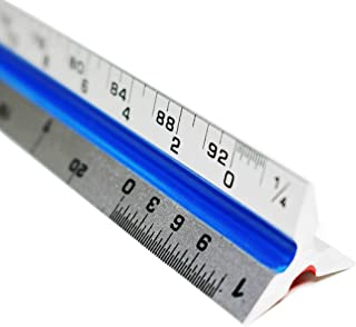 RAM Solutions Architect Scale Ruler 12'' (Professional Grade Aluminum) Triangular Tool with Colored Grooves for Easy Reference - Imperial Measurements