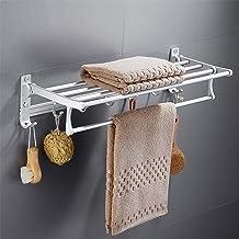 Punch, gratis handdoekenrek voor badkamers, multifunctioneel rek, dubbel opvouwbaar handdoekenrek voor badkamer, hardware ...