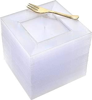 100pcs Square Dessert Plates with 100pcs Gold Dessert Forks, Clear Premium Plastic Salad Plates, Party Essentials Appetizer Plates,Gold Plastic Silverware, 6