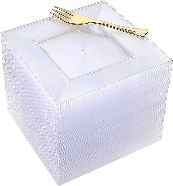 100pcs Square Dessert Plates With 100pcs Gold Dessert Forks Clear Premium Plastic Salad Plates Party Essentials Appetizer Plates Gold Plastic Silverware 6 Clear Dessert Plates And 5 Gold Forks