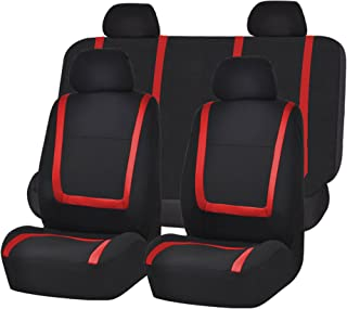 FH Group FB032RED114 Red Unique Flat Cloth Car Seat Cover (w. 4 Detachable Headrests and Solid Bench)