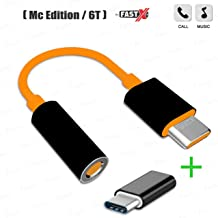 FASTX™ OG Compatible USB-Type C to 3.5 mm Stereo Earphone Audio Aux Jack Music Converter Adapter and a Portable Connector Combo Offer for Type-C Devices, Charge & sync Featured, Adaptor/Converter - Black (Micro to Type-C) for oneplus Mc Edition 6T 7 and more Devices –Orange.