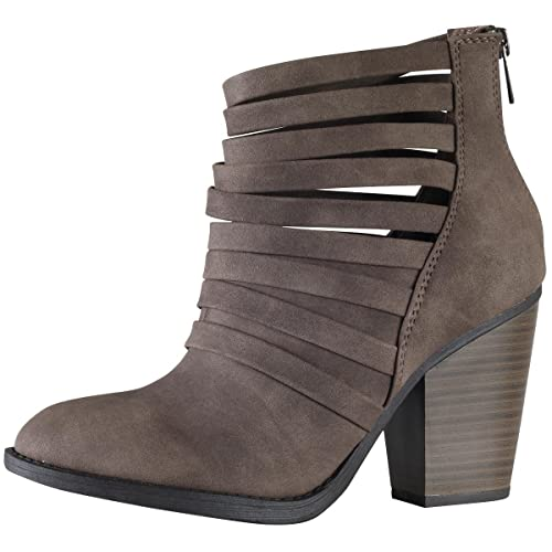 6bce86a29fd SODA Women s Kelly Cut Out Strappy Stacked Chunky Ankle Bootie