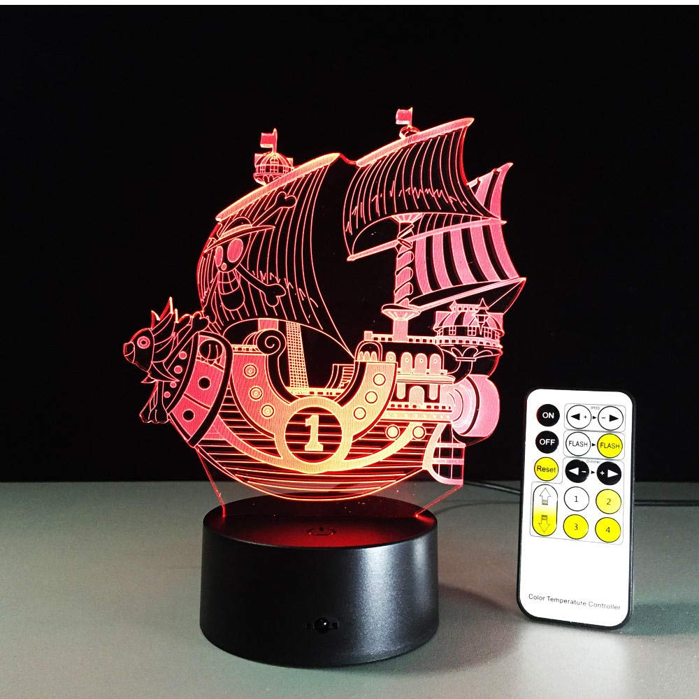 Night Light Pirate Boat Nightlight 3D Co USB Touch Remote Sales of SALE items from new works Mail order Switch