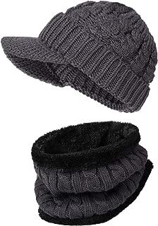 Mens Beanie Winter Warm Slouchy Beanie Hats Knit Versatile Thick Fleece Neck Warmer Neck Gaiter