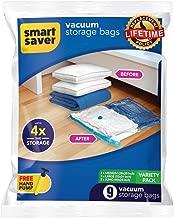 Smart Saver 9 Vacuum Storage Bags - SmartSavers Space Saver Bags (Lifetime Guarantee), 9 Pack (3XJUMBO, 3XMEDIUM, 3 X Large)