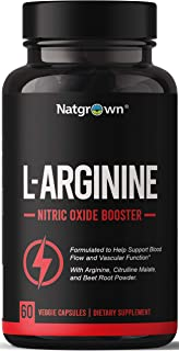 Extra Strength L-Arginine 1500mg Nitric Oxide Supplement - for Muscle Growth Vascularity and Energy - Powerful NO Booster ...