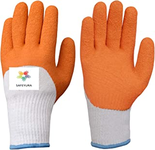 SAFEYURA Cut Protection Garden Safety Gloves, Thorn, Cut, Puncture Proof Excellent Grip Coating-Pack of 1 Pair,Orange