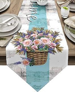 Seven Sunshine Spring Blossoms Flowers Basket Cotton Linen Table Runner Burlap Retro Wood Plank Home Decorative Tabletop A...