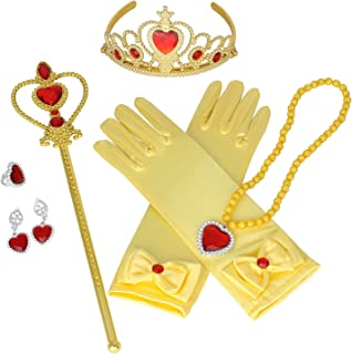 UUsave Princess Dress up Accessories for Belle Cosplay Girl Gloves Crown Necklaces