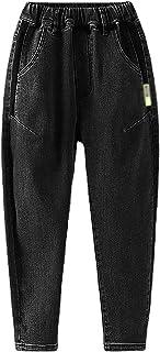 ZRFNFMA Ropa de niños, Jeans para niños, Big Boys, Estilo Occidental, Pantalones Sueltos Rectos, Pantalones Negros