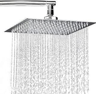 Rainfall Shower Head 8 inch, Solid Stainless Steel Square Rain Showerhead Ultra Thin Water Saving Chrome Finish