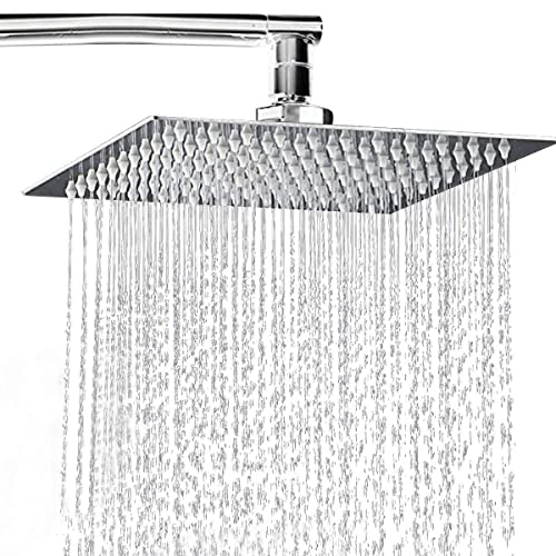 Rainfall Shower Head 8 inch, Fixed Square Rain Showerhead with Swivel Ball Connector, Stainless Steel Polish Chrome Finish, Ultra Thin Waterfall Full Body Coverage with Silicone Nozzle