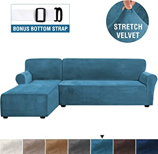 Rich Velvet Stretch 2 Pieces L-Shaped Sofa Covers Anti-Slip Sectional Sofa Slipcovers with Straps Bottom Luxury Thick Velvet Corner Sofa Cover(Large Size=Left Chaise with 2 Seater, Peacock Blue)