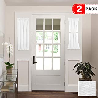 H.VERSAILTEX Natural Linen Blended French Door Curtain Rich Linen Light Filtering Semi Sheer Curtains, Rod Pocket Door Panel, Set of 2, 25 x 40 Inch, White