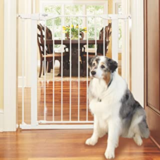 """MYPET North States Tall Happy Tails Walk Thru Pet Gate: Extra-Wide 22"""" Door with Hold-Open Feature. Pressure Mount. Fits 2..."""