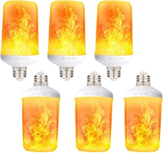 Aomryom LED Simulated Fire Flicker Flame Effect Light Bulb, 7W E26 Base Gravity Sensor & 4 Modes (Emulation, Gravity Sensing, General, Breathing), for Home Bar Party Decoration, 6 Pack
