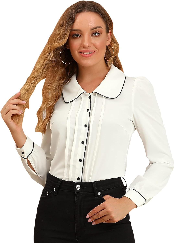 Allegra K Women's Casual Peter Pan Collar Contrast Shirt Tops Puff Sleeve Work Blouse