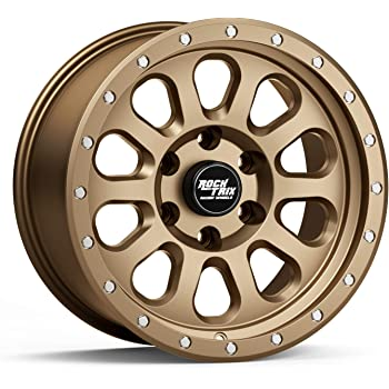 """RockTrix RT111 17 inch Wheel Compatible with 01-20 Toyota Tacoma 6x5.5"""" (6x139.7) Bolt Pattern, 17x9 (-12mm Offset), 106.1mm Bore, Matte Bronze, Also fits 02-20 4Runner, FJ Cruiser, 99-06 Tundra - 1pc"""