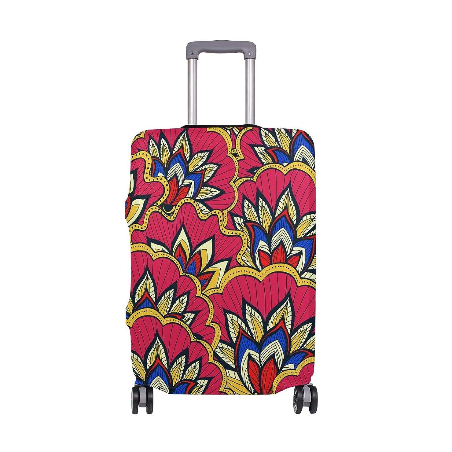 変形するプロペラロッカースーツケースカバー 荷物カバー 赤い花柄 伸縮素材 ラゲッジカバー 防塵 擦り傷防止 トラベルアクセサリ 旅行