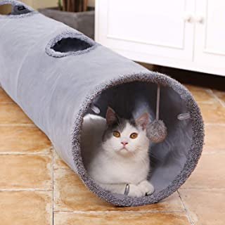 """TIM Cat Tunnel Pet Play Tube Crinkle Tunnel with Cat Toys,Length 35"""" Diameter 9.7"""" L SIZE"""