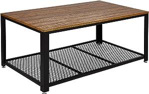 Meerveil Table Basse Industrielle Table de Salon Style Vintage, Industriel, Veinure du Bois et Armature de Métal, pour Salon, Cuisin, Chambre, 106 x 60 x 45 cm