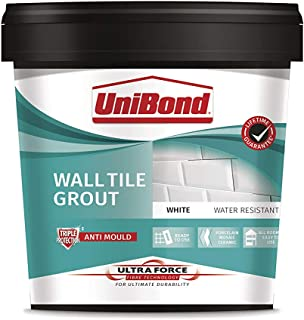 UniBond Ultra Force Wall Tile Grout, Waterproof Grout for Tiling, Mould Resistant Grout for All Rooms, Porcelain, Mosaic a...