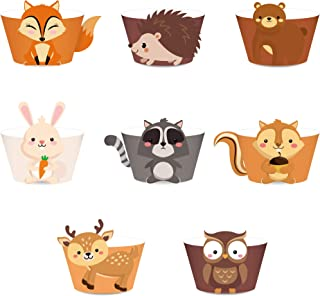 LJCL 24Ct Woodland Creature Cupcake Wrappers,Wild One ,Woodland Baby Shower Decorations,Forest Animal Creature Cup Cake Wrap Liner ,Woodland Creature Baby Shower Decorations,Lumberjack Theme Birthday Favor Decor