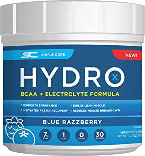 Simple Core Hydro X BCAA Powder + Electrolytes for Fuel, Stamina, and Hydration, 30 Servings (Blue Razzberry)