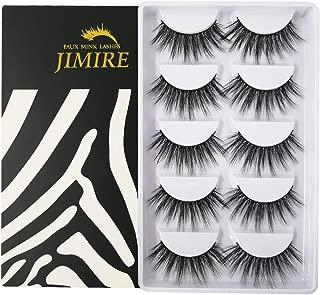 JIMIRE False Eyelashes 3D Volume Lashes 5 Pairs Fake Eyelashes Fluffy Natural Lashes