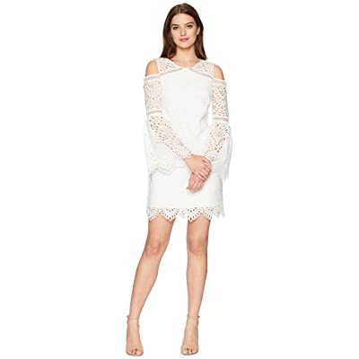 Laundry by Shelli Segal Venise Fit Flare Dress with Cold Shoulder (Marshmallow) Women