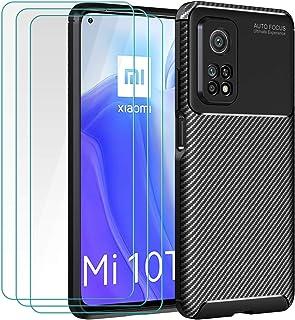 ivoler Fodral till Xiaomi Mi 10T 5G/Xiaomi Mi 10T Pro 5G + 3-pack skärmskydd i härdat glas, kolfiberdesign stötdämpande st...