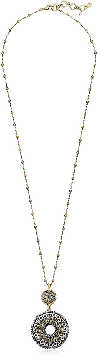 Lucky Brand Two Tone Tribal Pendant Necklace, 30
