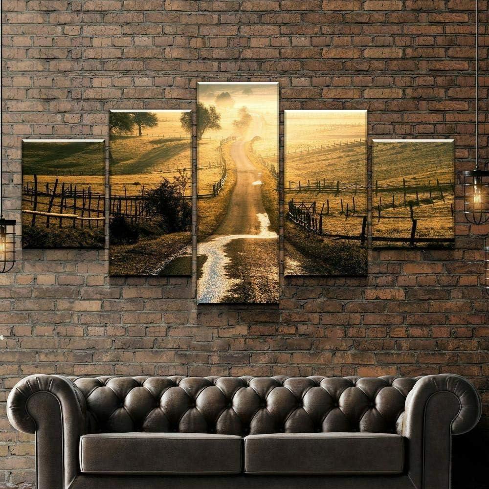 Under blast sales 25% OFF YBNB Painting Modern Canvas Wall Art 5 Panels Sunset Field Road