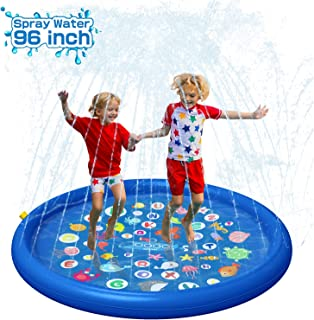 "QPAU Inflatable Splash Pad Sprinkler for Kids, Sprays Up to 96 inch, Baby Kids Pool for Learning, Inflatable Water Toys, 60"" Outdoor Swimming Pool for Babies and Toddlers(Blue)"