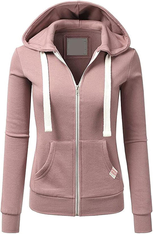 Women Fashion Color Block Hoodie Casual Long Sleeve Full Zip Sweatshirt Slim Fit Pocket Coat Fall Workout Hooded Tops