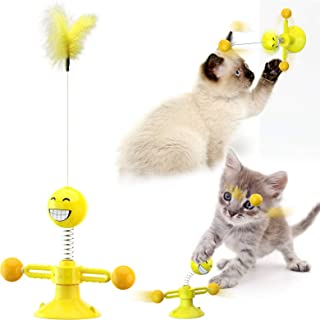 Cat Toys, Cat Tumbler Toys,Kitten Toys Cat Toys for Indoor Cats,360°Rotate Spring Turntable Toy with Feather Cat Stick Cha...