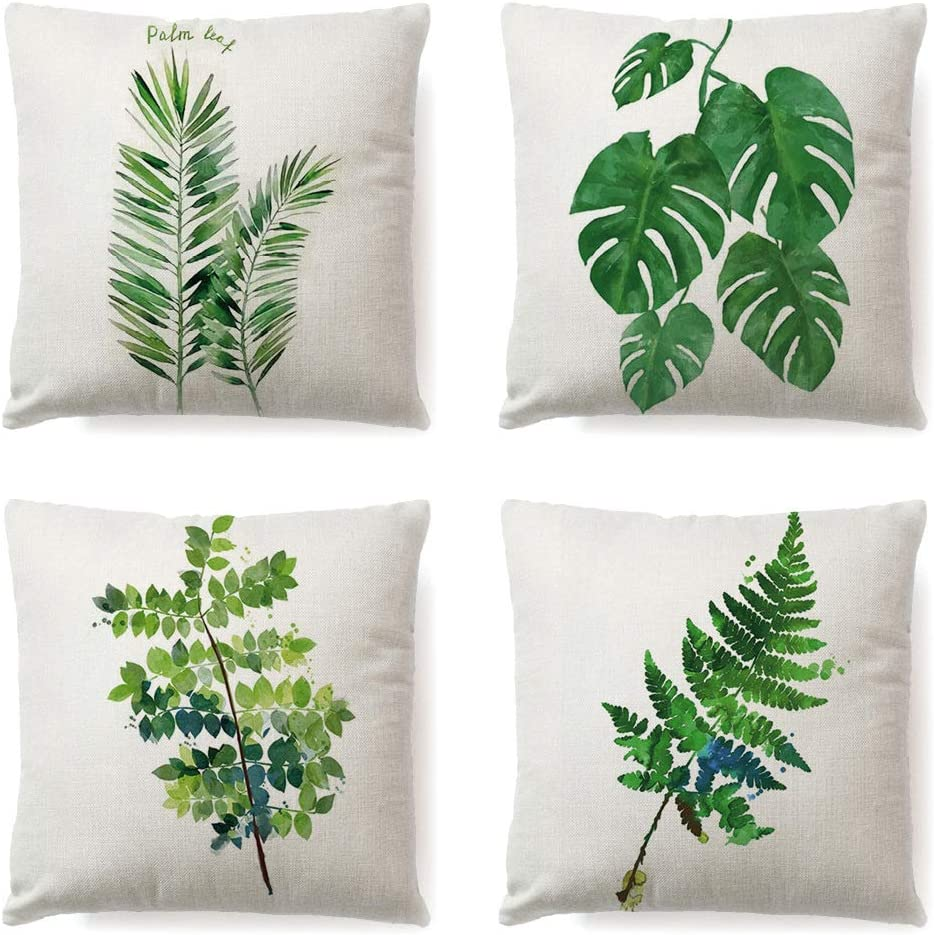 18x18 Car Outdoor Garden Bed Couch LYNKO Cushion Covers 45 x 45cm,Set of 4 Linen Pillow Covers Spring Decorations Wreath Bicycle Butterfly for Sofa