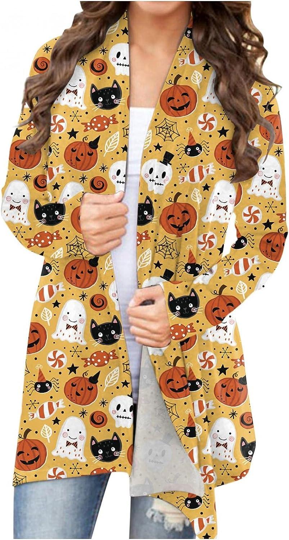 UOCUFY Women's Halloween Cardigan, Womens Cute Coat Long Sleeve Open Front Pumpkin Ghost Plus Size Tops Lightweight