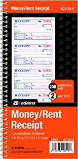 "Adams Money and Rent Receipt Books 2 Part Carbonless New Color Cover, White, Canary & Pages, 5-1/4"" x 11"", Spiral Bound, 2..."
