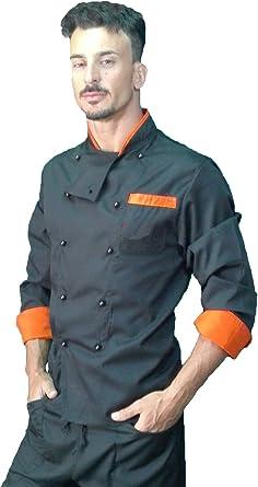 Chaqueta de Chef, para Hombre, Camisa de Cocinero, Chaqueta de cosina, Negro y Naranja, Made in Italy
