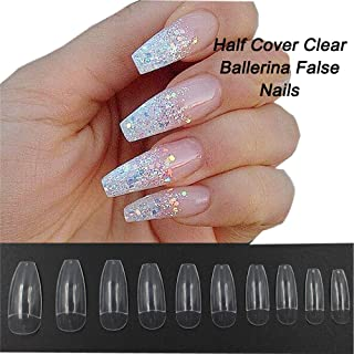 Coffin Nails 500pcs Half Cover Acrylic False Nail Tips Coffin Ballerina Nails 10 Sizes With Bag for Nail Salons and DIY Manicure(Half Cover, Clear)