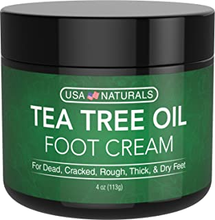 Tea Tree Oil Foot Cream - Instantly Hydrates and Moisturizes Cracked or Callused Feet - Rapid Relief Heel Cream - Natural ...
