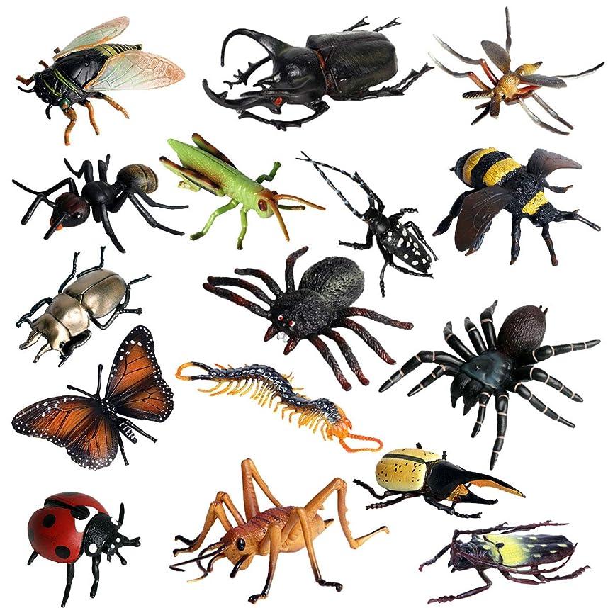 委任するペチュランス変動するFLORMOON動物フィギュア 16 個のリアルなプラスチック昆虫おもちゃセット内容longicorn、クモ、ミツバチなど。科学プロジェクト、学習教育おもちゃ、誕生日ギフト、ケーキトッパーのためのキッズ幼児